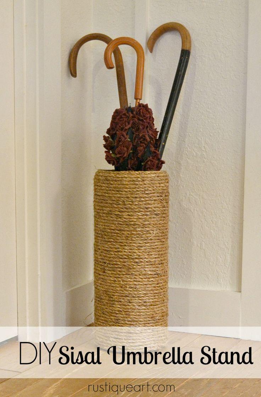 DIY Sisal Umbrella Stand #homedecor #textured #sisal
