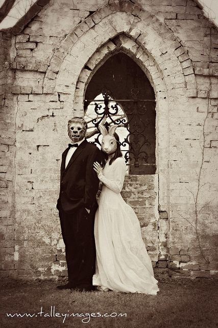 We're horror movie junkies, so why not have a Kubrick/The Shining-style creepy wedding photo