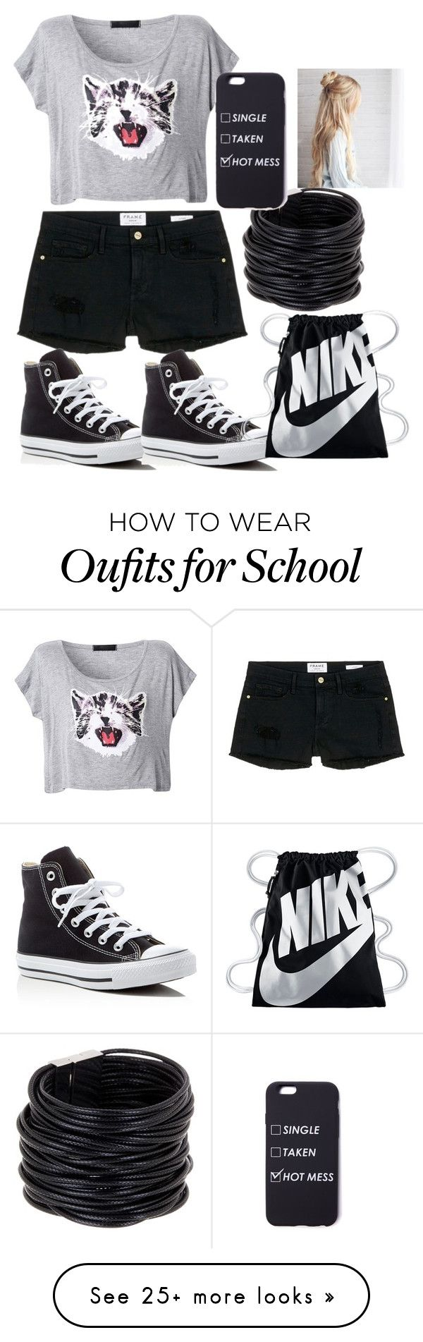 """""""Shopping For School Already"""" by lolblingqueen on Polyvore featuring Frame Denim, Converse, NIKE and Saachi"""