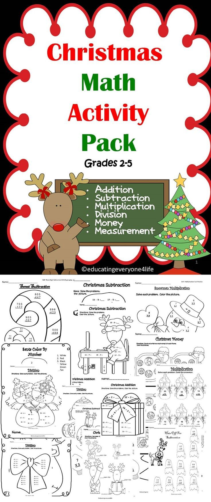 Merry Christmas! Celebrate the Christmas holiday with this fun and engaging math activity book for the classroom.