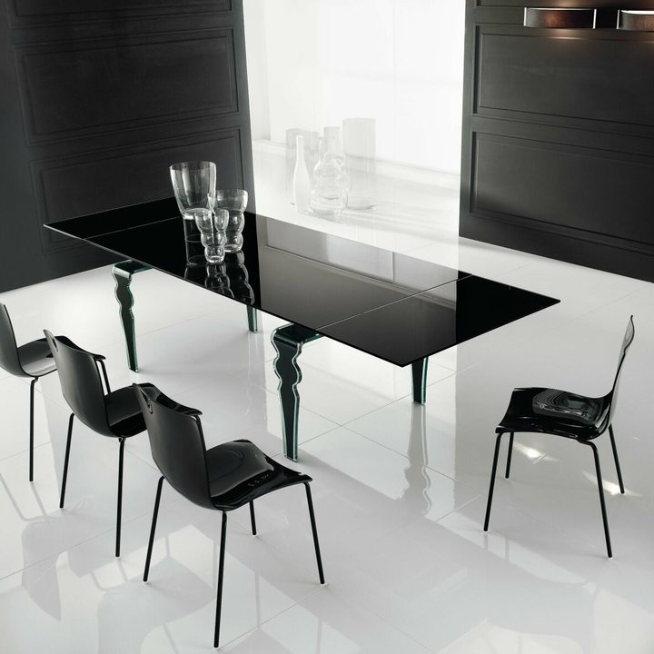 All Glass Contemporary Dining Table With Hidden Extensions Furniture Toronto