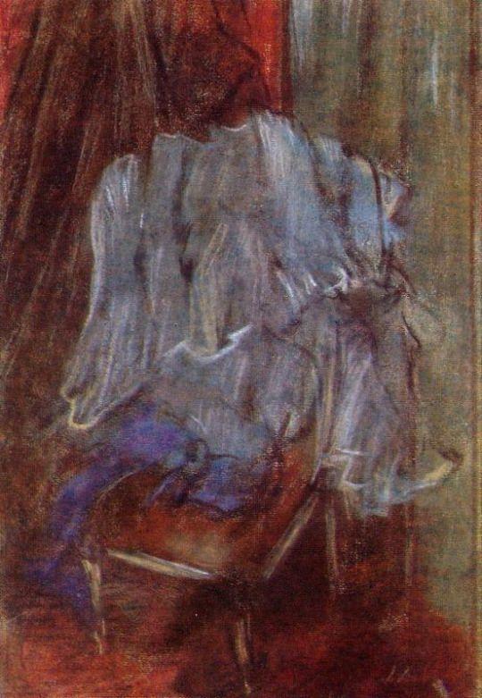 Vestment on a Chair by Edgar Degas  Medium: pastel