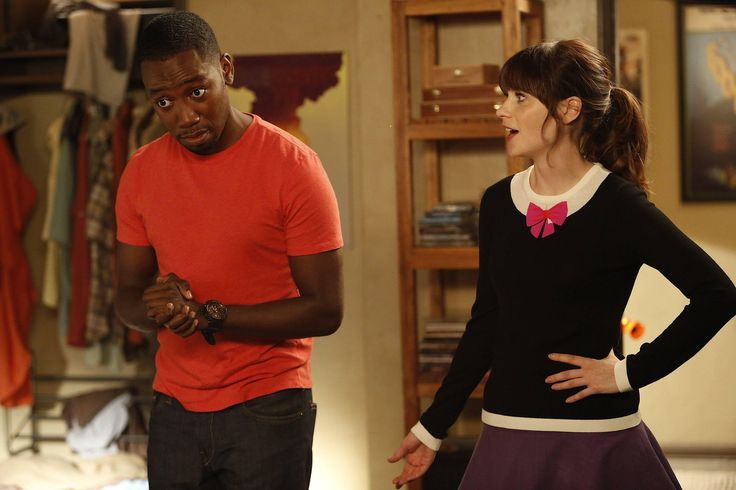 New Girl Winston (Lamorne Morris) and Jess (Zooey Deschanel) on New Girl's Halloween episode.