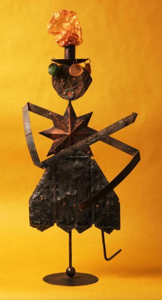Carmen Miranda - Recycled riveted metal sculpture created at Copper Lizard Studio
