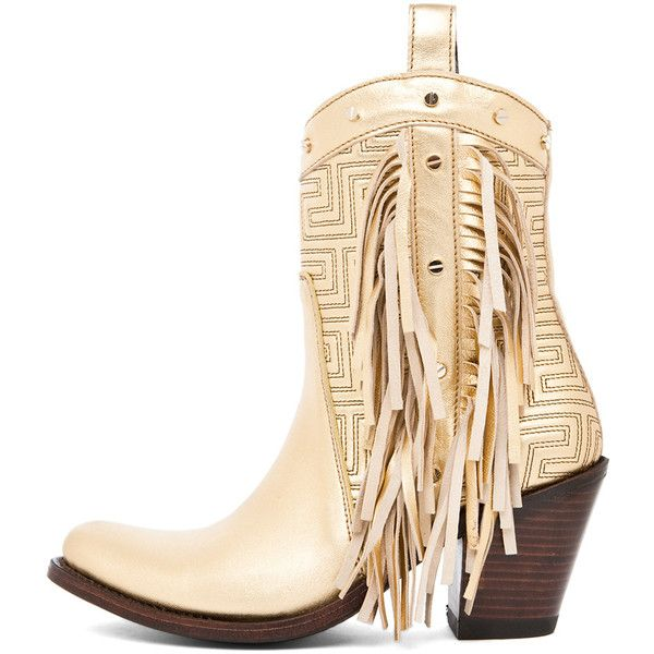 VERSACE Fringe Cowboy Boot in Gold ($1,425) ❤ liked on Polyvore