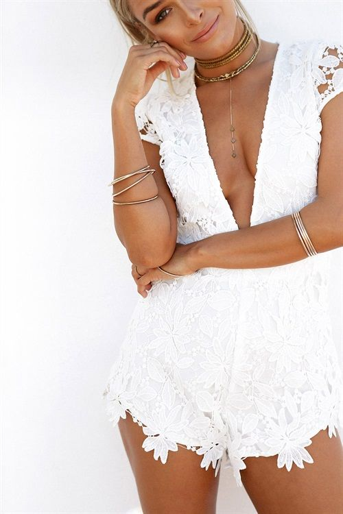 Amelia Lace Playsuit #SABOSKIRT