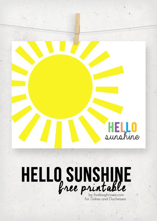 hello sunshine printable for summer wall decor