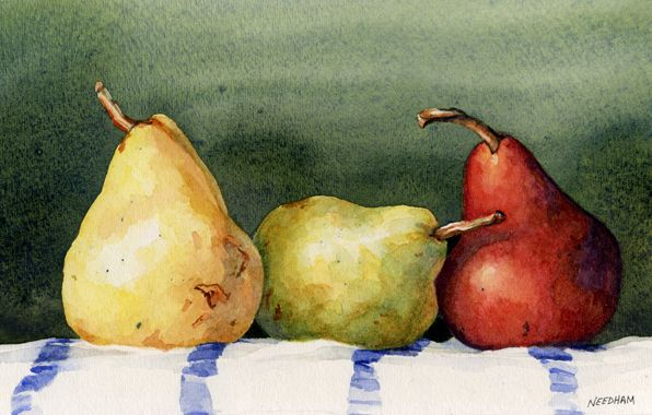 Watercolor Paintings Of Pears | Fresh Air and Choppy Water by Thomas A Needham