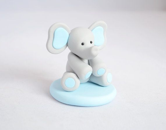 Baby Elephant Cake Topper Custom Baby Shower Cake by Linnypigs