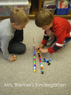 2 partners, 1 string, take turns rolling dice to add that number of unifix cubes, first to measure whole string wins. Use different lengths of string (number them) and make a recording sheet?
