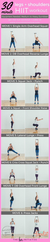 30 Minute Legs + Shoulders HIIT Workout. Overhead squat, reverse lunch, squat jack, front shoulder raise, lateral lunge, should raise, overhead press, press jack | www.nourishmovelove.com