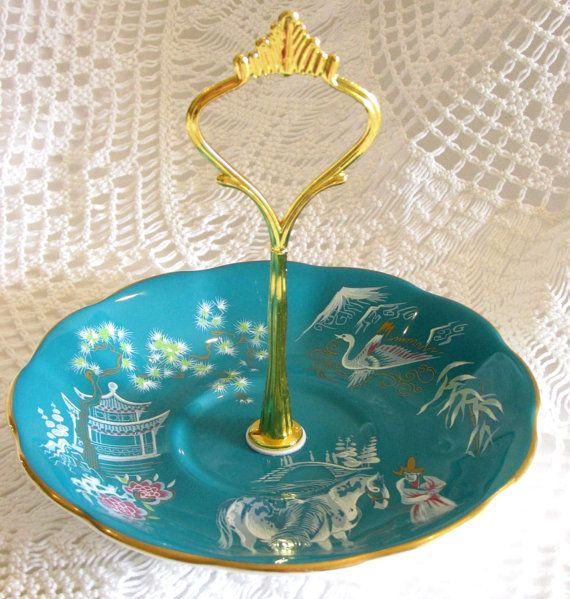 Teal Green Saucer Stand Candy Dish Tidbit Tray with Oriental Scene on Royal Albert Vintage China Plate Dish by High Tea For Alice on Etsy