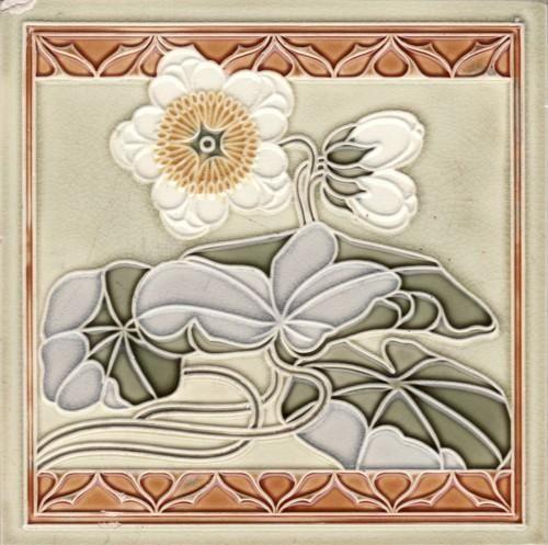 "Art Nouveau tile. Muster a German Tile Co.. A really pretty floral done is a soft pallet on this tile. It is a 6"" tile."