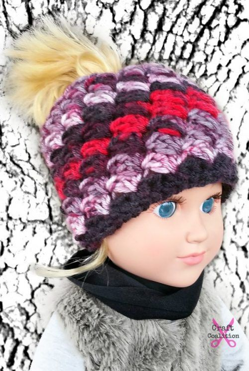 My Dolly Everyday Kisses Messy Bun Hat 18 inch doll crochet pattern | CraftCoaition.com Quick n Easy free crochet pattern. Check out our entire My Dolly series!