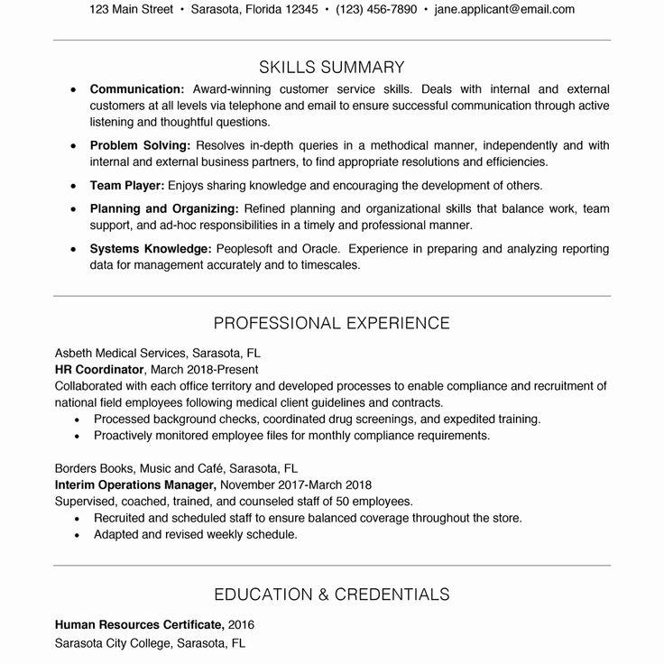 Core Qualifications Resume Examples Luxury Resume Example