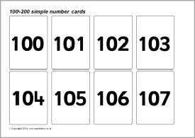 Simple 100-200 number cards (SB10394) - SparkleBox
