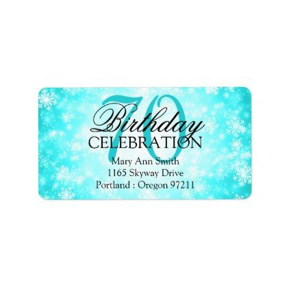 Address 70th Turquoise Winter Wonderland Label - birthday cards invitations party diy personalize customize celebration
