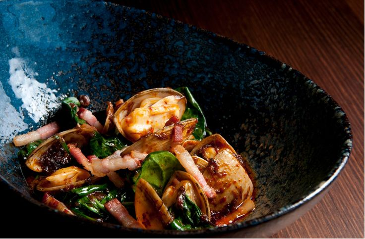 Madame Wu's Clams wok fried with xo sauce and bacon