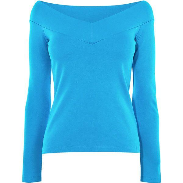 Karen Millen Angled Bardot Top ($75) ❤ liked on Polyvore featuring tops, blue top, off-shoulder tops, form fitting tops, blue off shoulder top and off the shoulder tops