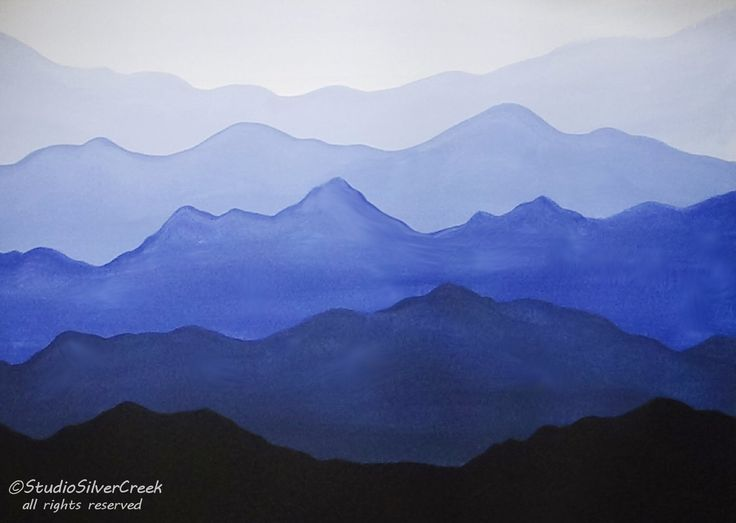 Easy Acrylic Painting - Misty Mountains. Video Available: https://youtu.be/dnRFuxRI5Gw #AcrylicPainting #AbstractPainting #StudioSilverCreek