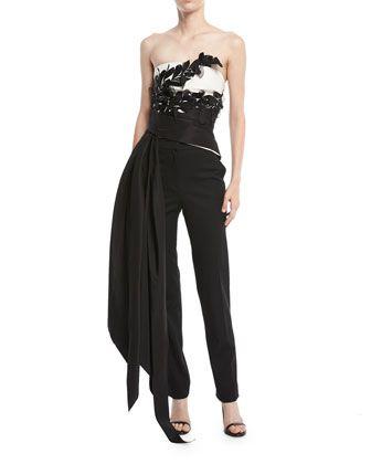 Strapless+Floral+Bustier+Top+w/+Draped+Ties+by+Oscar+de+la+Renta+at+Neiman+Marcus.
