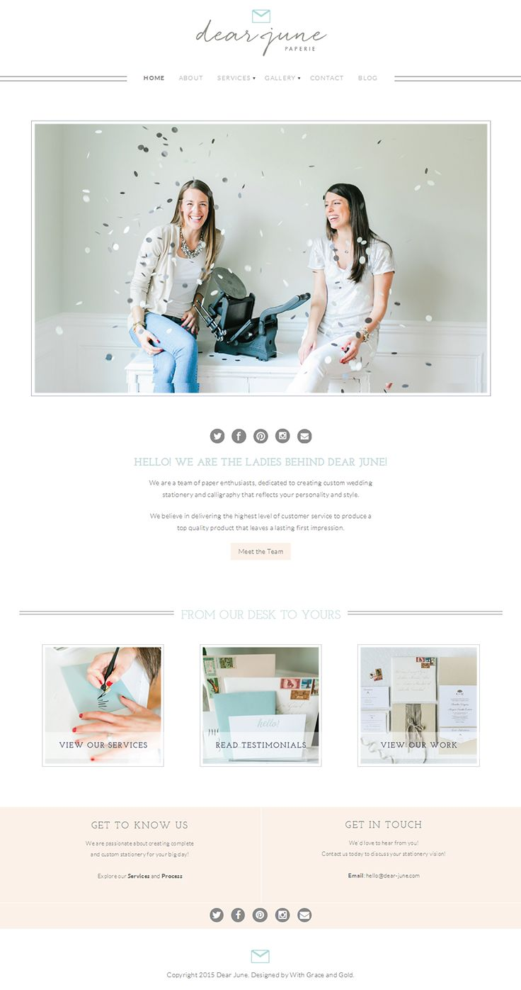 Minimalist chic website design for a team of creative paper enthusiasts specializing in custom invitations and event details. Using #Bluchic responsive feminine WordPress theme http://www.bluchic.com/shop/wordpress-themes/naomi-theme