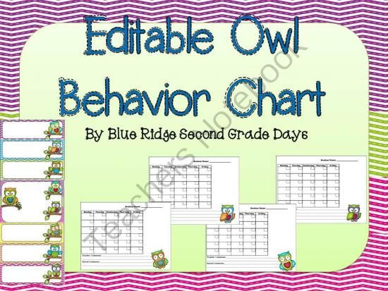 Editable Owl Behavior Chart and  Editable Behavior Calendars from Blue Ridge Second Grade Days on TeachersNotebook.com -  (25 pages)  - This animal chart has graphics of owls.  This set includes 2 editable behavior charts and  calendars.