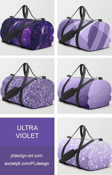 Trendy Pantone color of year 2018 Ultra violet purple sparkles, bokeh, geometric lines, mesh, abstract galaxy duffle bags and more by #PLdesign #style #fashion #accessories @Society6