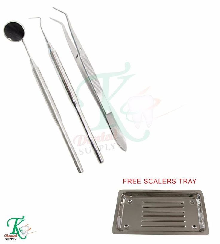Dental Mouth Examination Kit Probe Mouth Mirror Handle Forceps Free Scalers Tray #TKPlusLtd