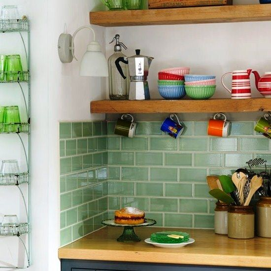 Kitchen:Amusing Kitchen Tile Design Ideas With Wooden Countertop Ceramic Backsplash Tile Gray Cabinet Floating Pendant Lamps Glass Rack Teapot Wooden Shelf Serving Spoon Wooden Spoon Spatula Coffee Maker Wisk Amusing kitchen design ideas: 5 Tips Selecting Kitchen Tile