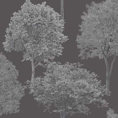 Fine Decor Woodland Trees Wallpaper Green / Cream / Silver / Gold / Black / Plum