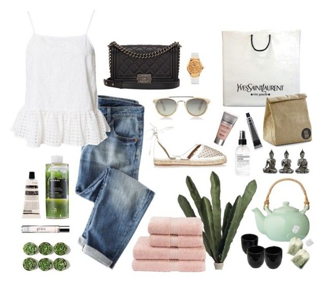 Vacation by amadewi on Polyvore featuring polyvore, fashion, style, River Island, Aquazzura, Yves Saint Laurent, Chanel, Salvatore Ferragamo, Taylor Morris, philosophy, Aesop, Sonya Dakar, Grown Alchemist, Korres, Fig+Yarrow, Christy and Bloomingville