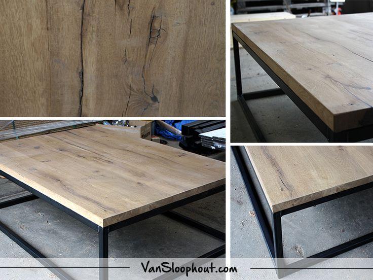 Rustiek eiken salontafel met stalen kubus frame. #eiken #staal #frame #industrieel #barnwood #salontafel #wonen #interieur #wooninspiratie