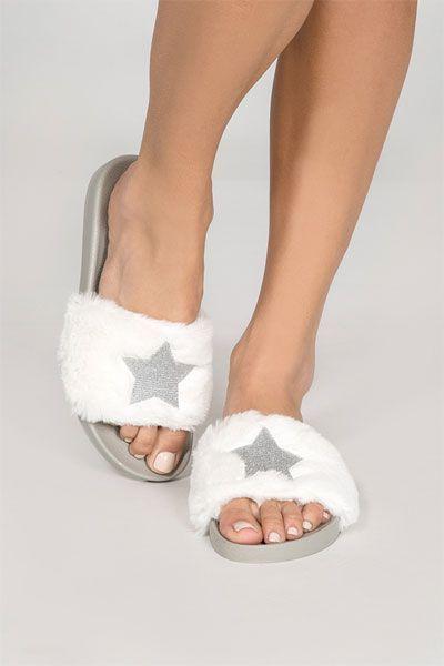 PJ Salvage Star Fur Sliders Fur Sliders 7a9987c5e