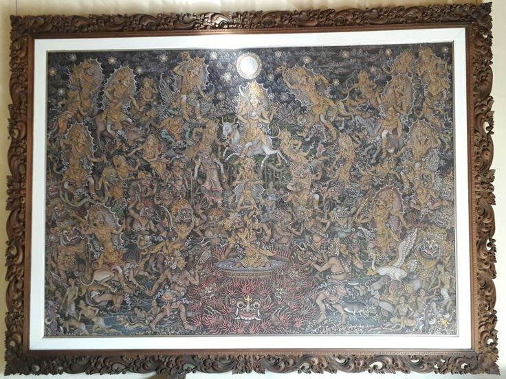 My grandfather's balinese traditional painting. Watercolor and acrylic on kanvas with size 2.00 m x 1.36 m. This painting is in Busy Art Studio in Ubud, Gianyar, Bali. If u interesting with balinese tradisional painting, please visit my family's painting galery :D