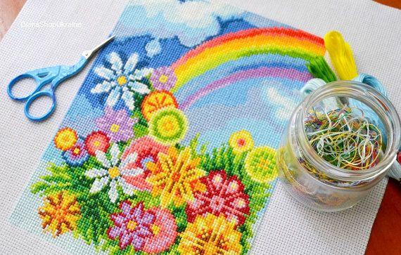 A Rainbow  Cross Stitch Pattern PDF  Instant by DianaShopUkraine