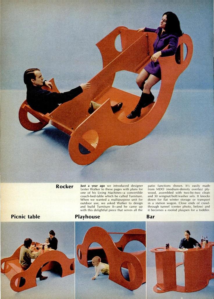rocker to bar #genius   'turniture' by Lester Walker, 1970 via swissmiss.com