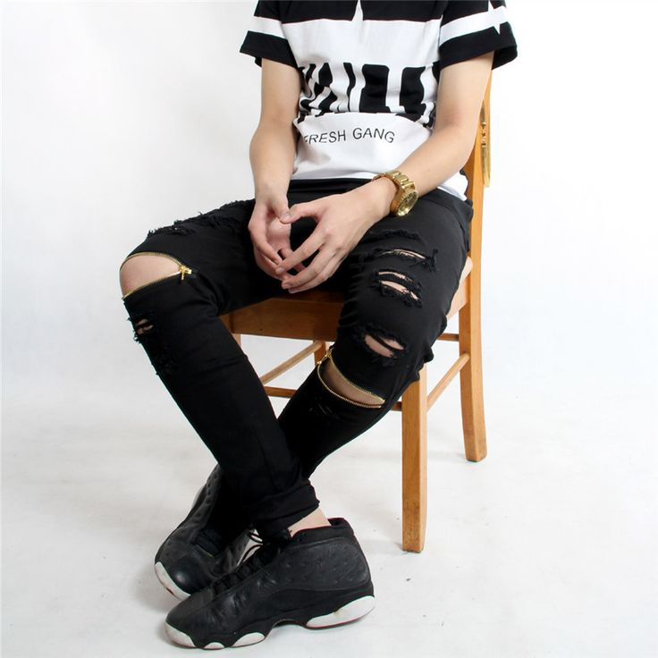 2016 top fashion mens Jeans Denim Casual pants zipper hole street style hip-hop pants tide male clothing