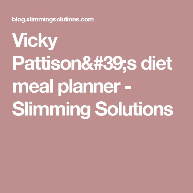 Vicky Pattison's diet meal planner - Slimming Solutions ()