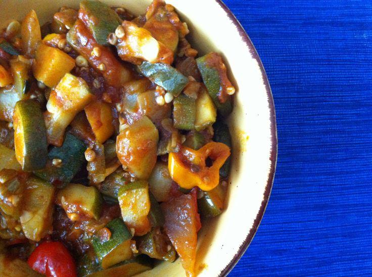 spicy okra + zucchini sauté