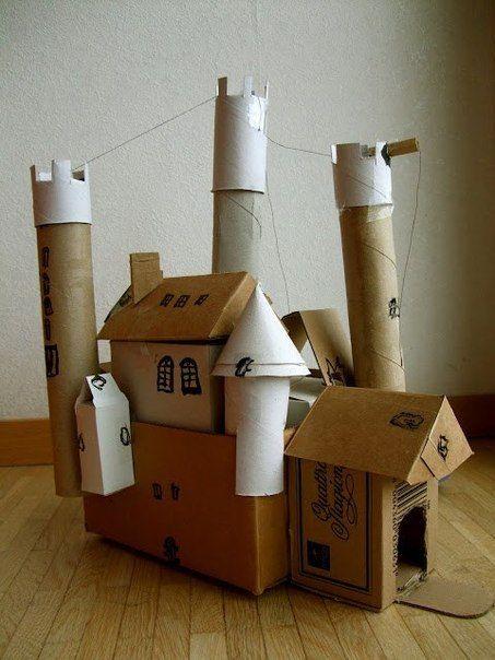 КАРТОННЫЙ ЗАМОК Соберите трубочки от туалетной бумаги и бумажных