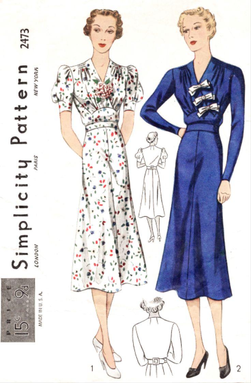 655 best vintage sewing patterns 1930s images on pinterest simplicity 2473 1930s dress vintage sewing pattern reproduction jeuxipadfo Choice Image
