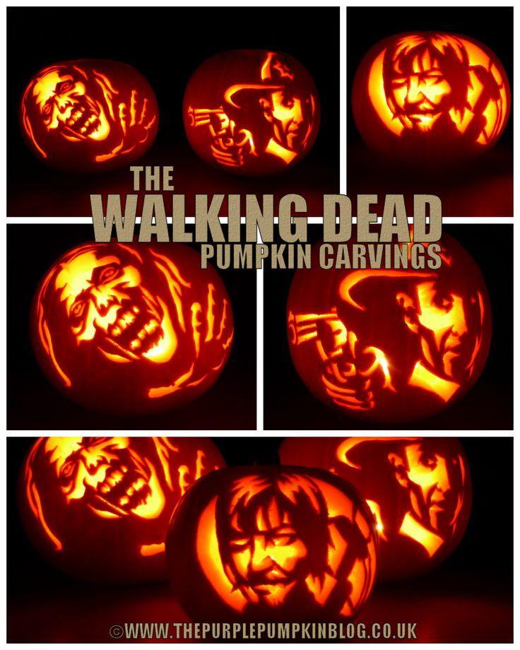 The Walking Dead #Pumpkin Carvings @ The Purple Pumpkin Blog #TWD #TheWalkingDead