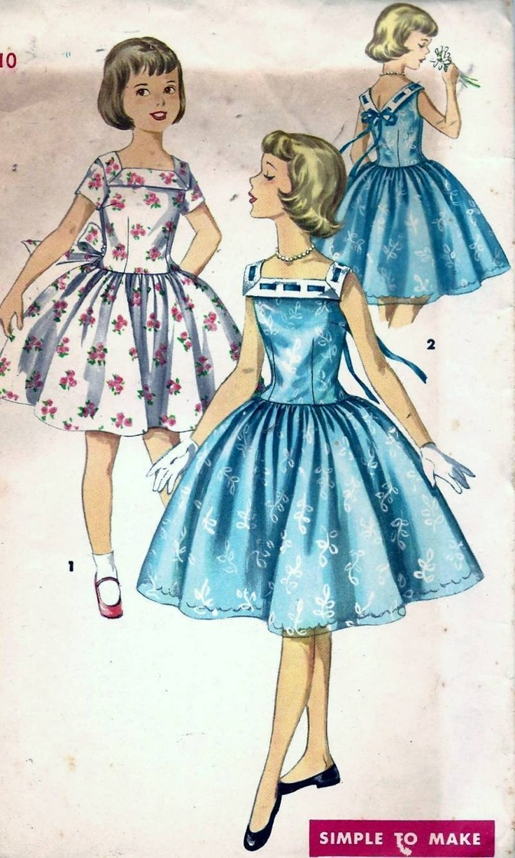 #Vintage 50s #Simplicity Girls Party #Dress #Sewing # ...