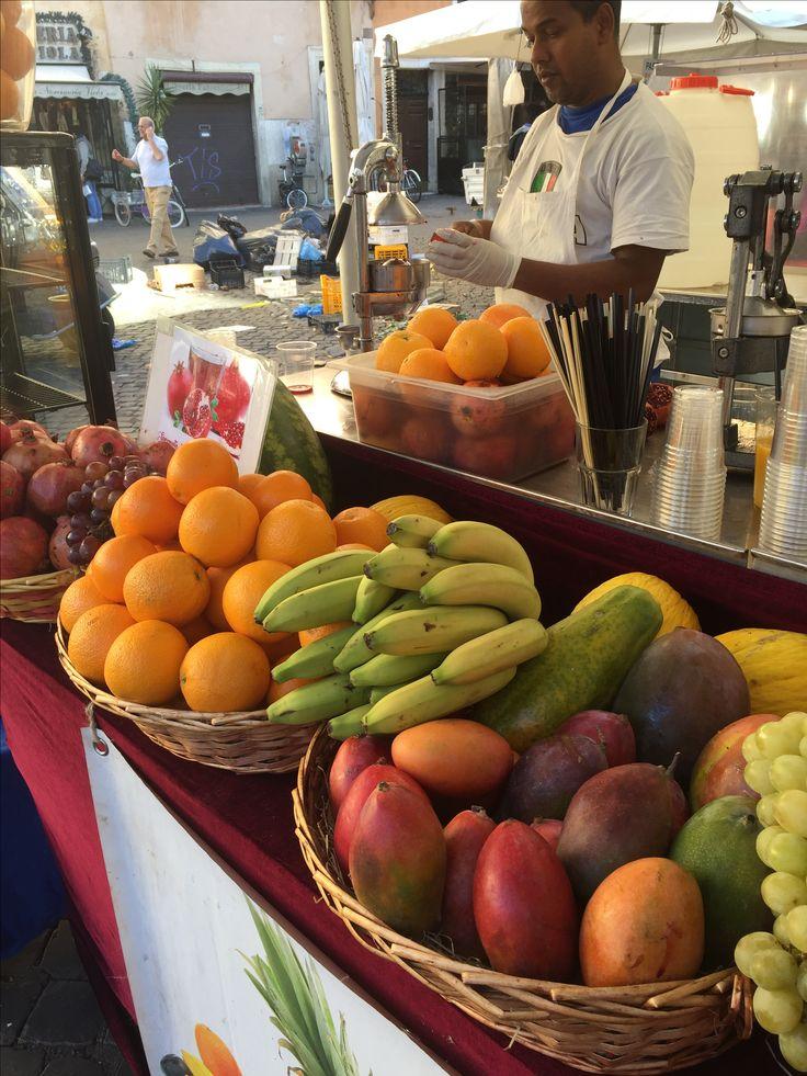 Fresh squeezed juice at the market in Campo de Fiori, Rome