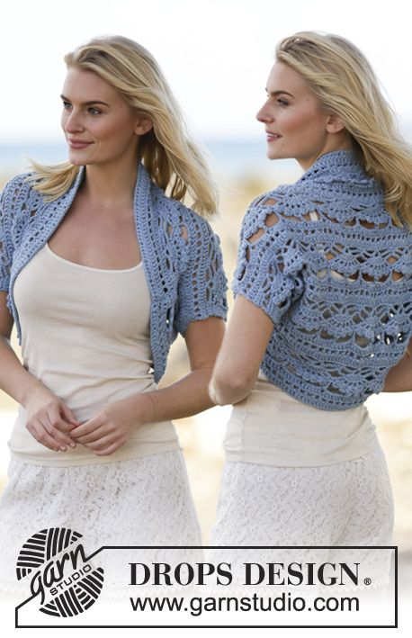 "Blue Wonder - Chauffe-épaules DROPS au crochet, en ""Paris"". Du S au XXXL - Free pattern by DROPS Design"