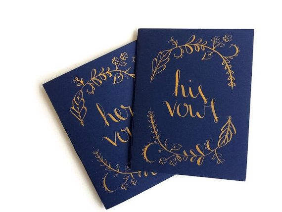 Vow Books  Navy and Gold  Wedding Vow Books by Noteworthydesignsco