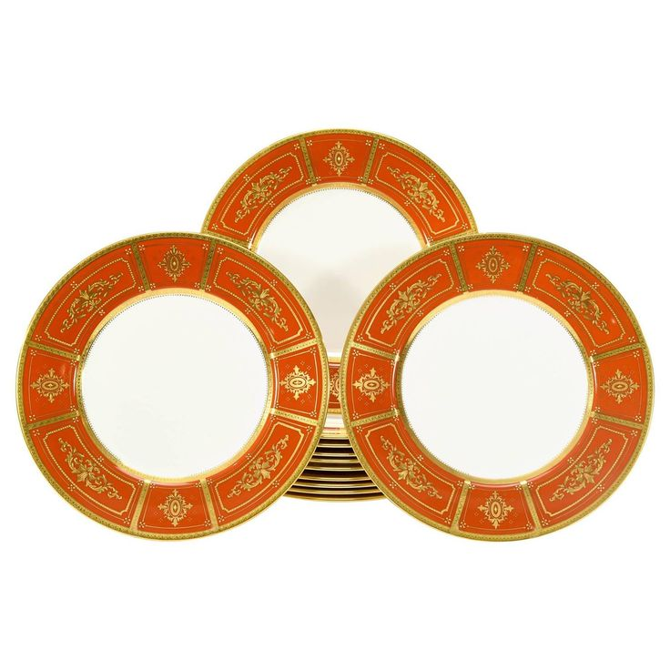 Set of 12 Minton Orange Dinner Plates with Neoclassical Raised Paste Gold