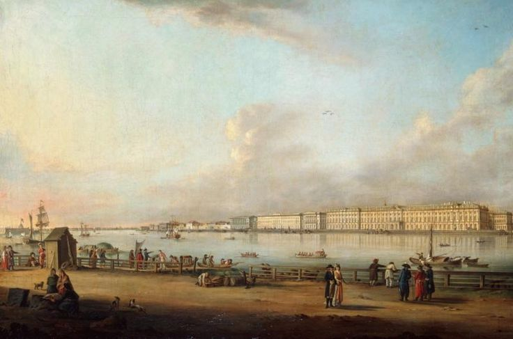 'View of the Palace Embankment, St Petersburg, from Yasilyevsky Island' by Johann Georg De Meyr, 1796. This painting is one of a series of views of St Petersburg which were completed between 1796 and 1803. It has been suggested that the series was created to mark the centenary of the foundation of St Petersburg.George The, Yasilyevski Islands, St Petersburg, De Meyr, Palaces Embankment, Johannes George, European History