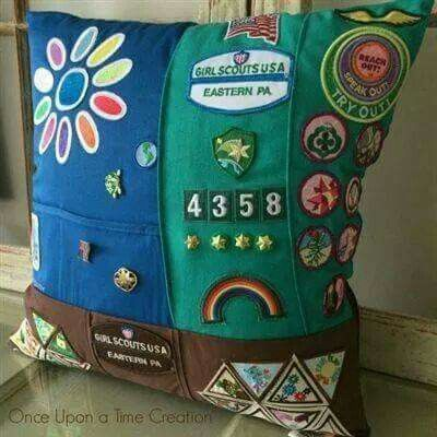 Make a pillow out of an old Girl Scout uniform.